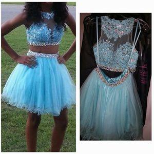2-piece Halter top:tutu skirt homecoming dress